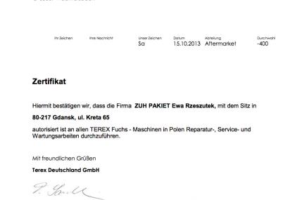Certyfikat TEREX-Fuchs